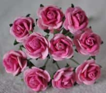 1 cm LIGHT PINK PINK CENTER Mulberry Paper Roses